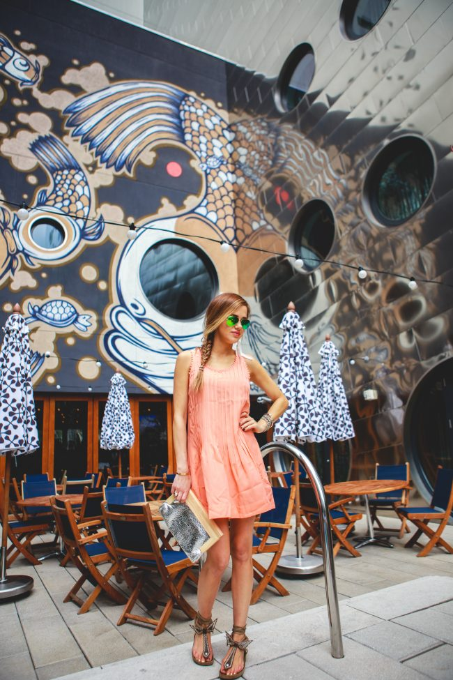 Coral Dress Dream Hotel Pool Angie Wilson The Fashion Fuse