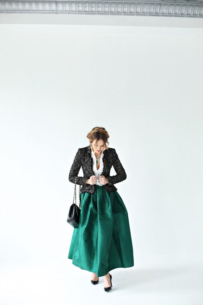 carolina herrera emerald jaket, holiday look, ootd, the fashion fuse