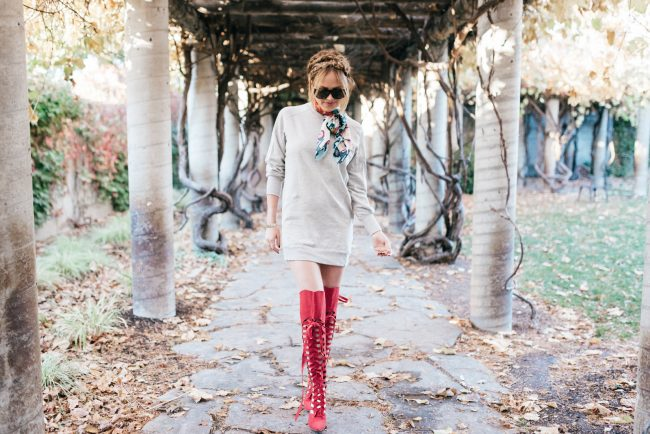 Red knee High Boots for The holidays