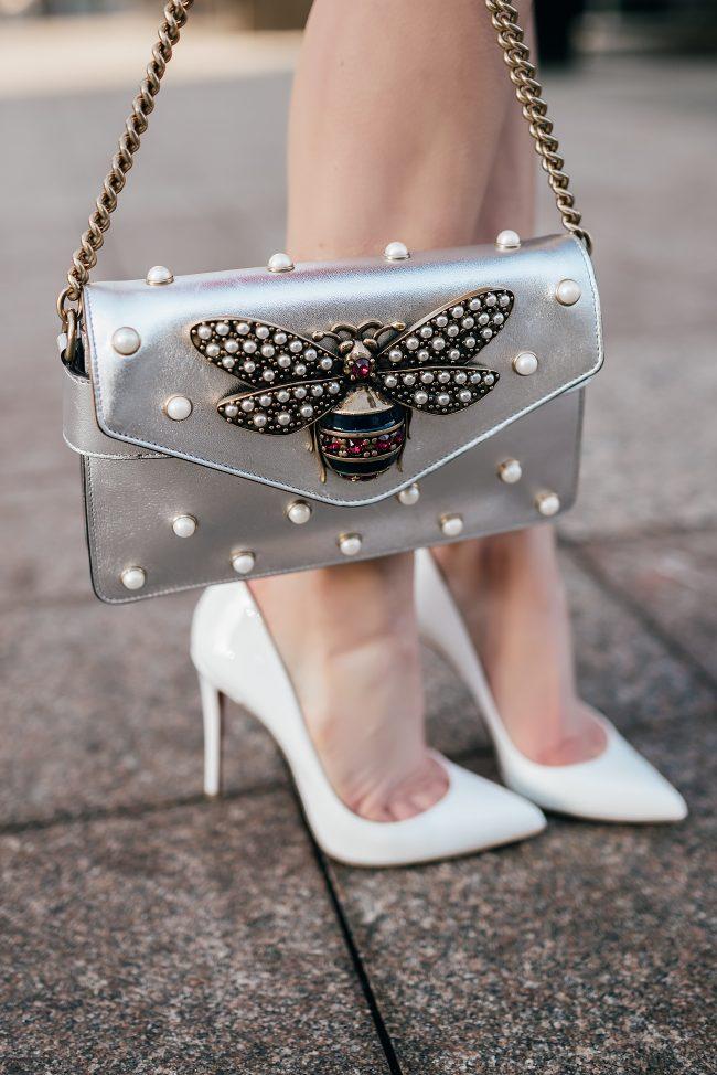 gucci-broadway-bee-bag-metallic-silver-white-louboutin-pumps