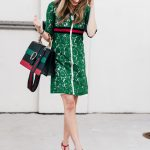 High end and affordable Stripe Dionysus and Green Lace Dress