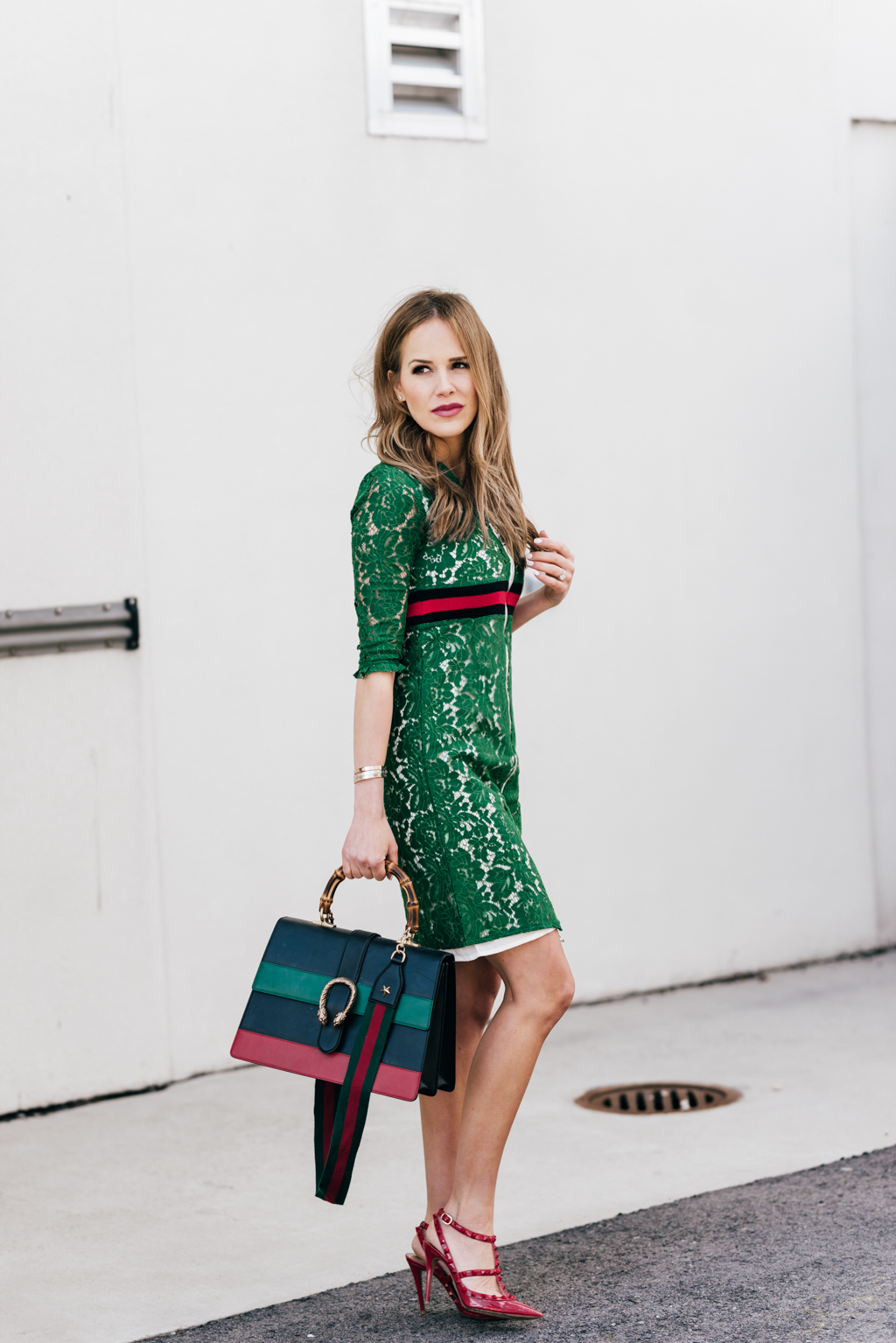 Navy Red Green Stripe Dionysus Bag Green Lace Zip Up Dress