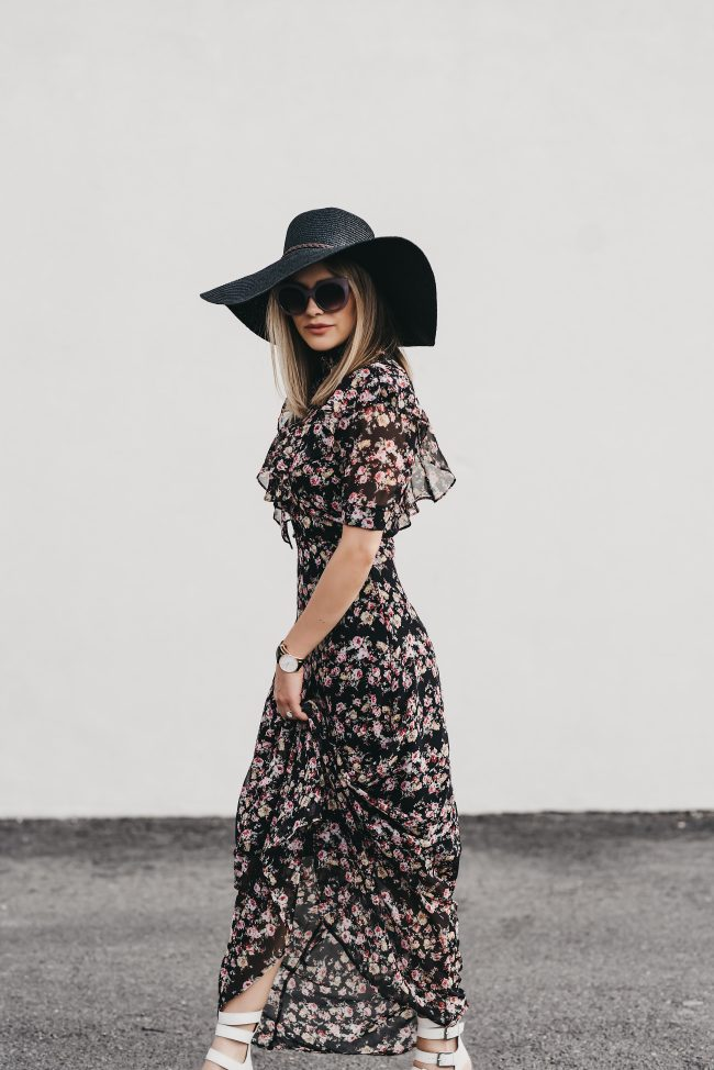 Black floral ruffle maxi under two hundred dollars