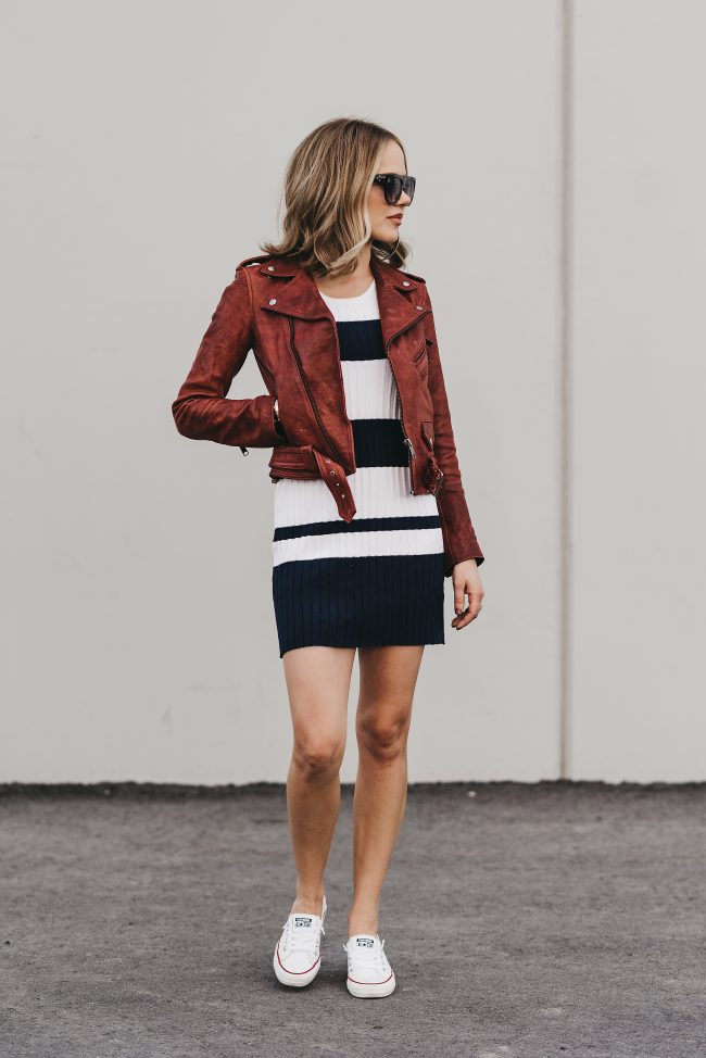 red color trend fall biker jacket