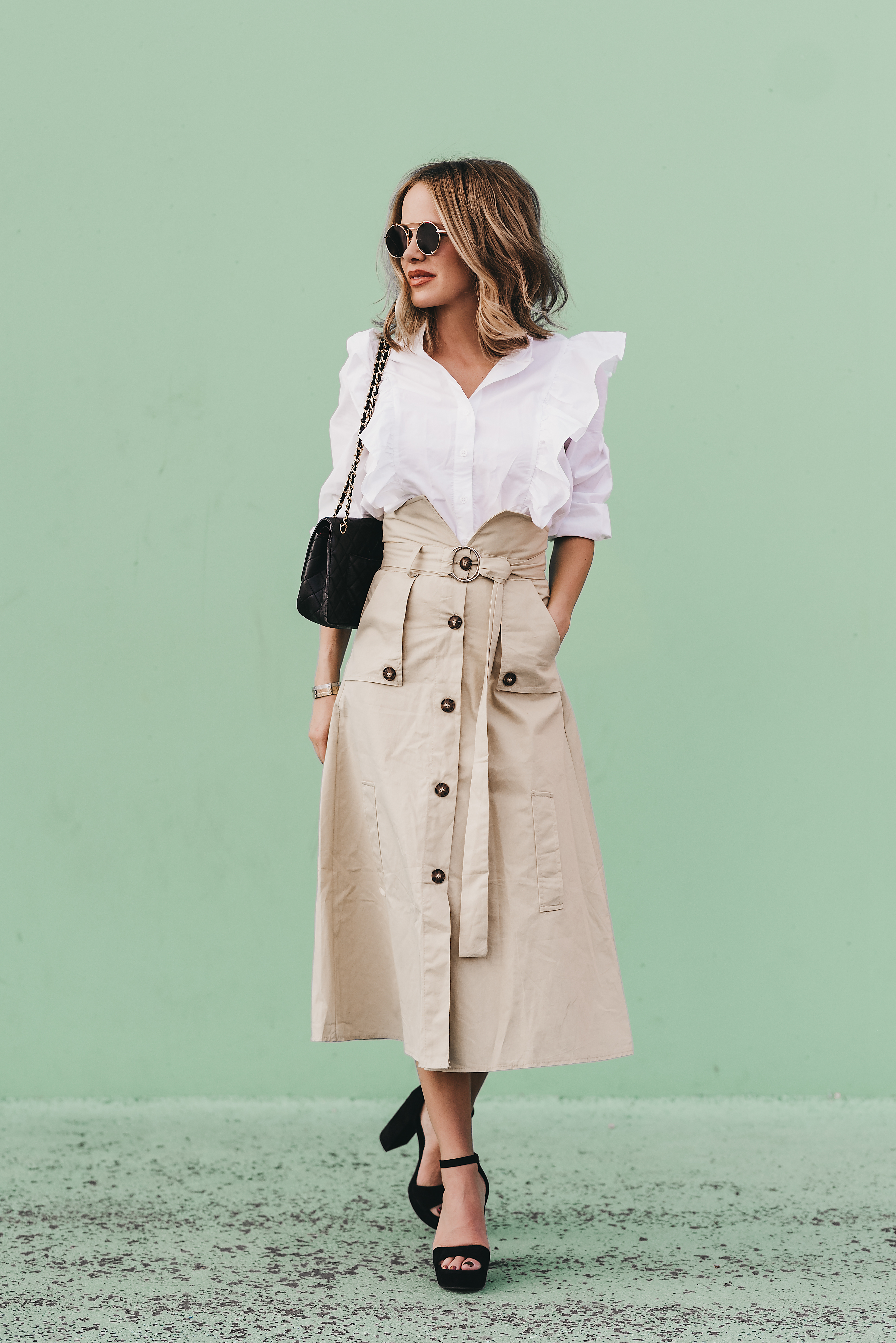 9678b0847b storets-trench-coat-skirt-target-white-ruffle-top-the-fashion-fuse ...