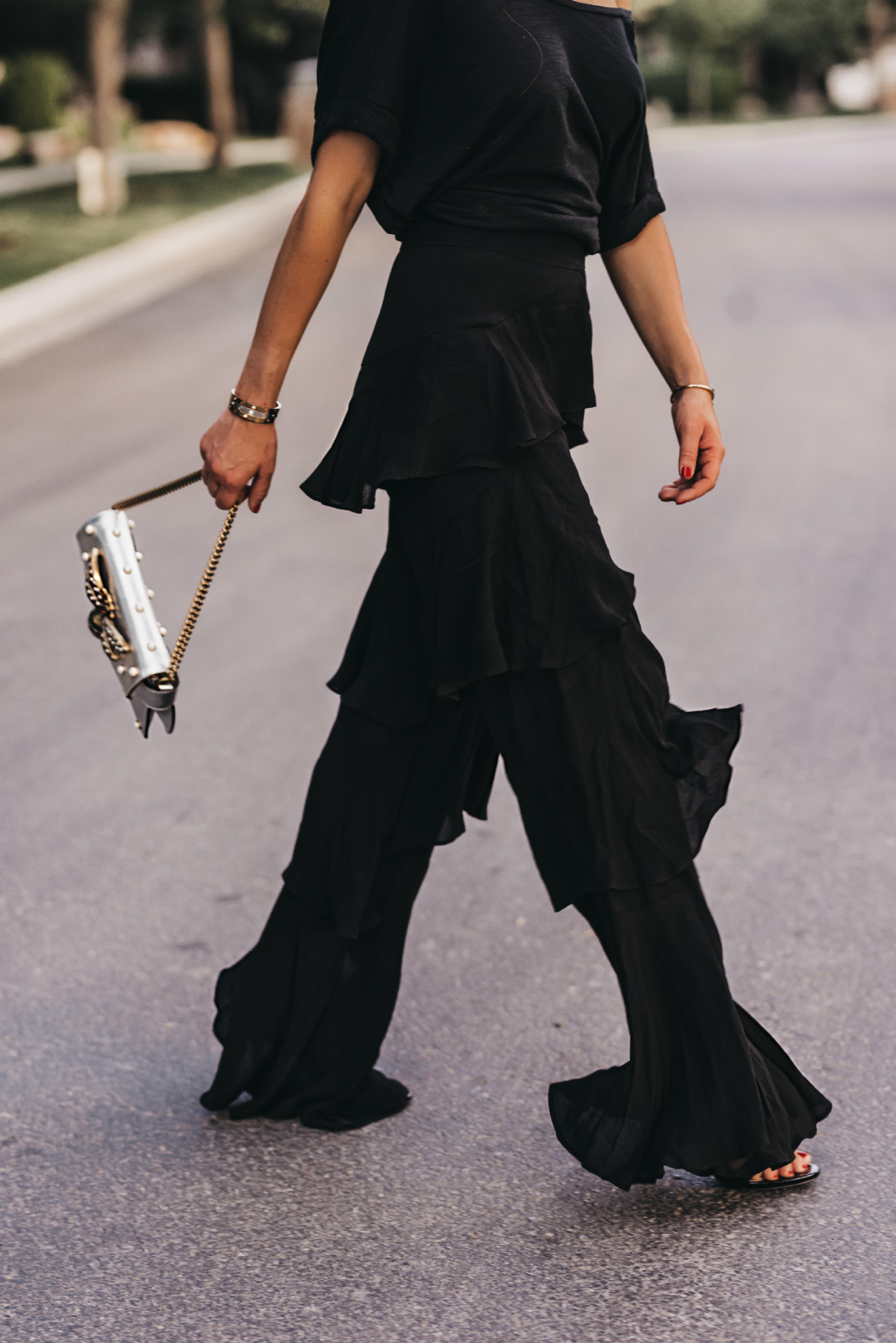 black-layered-ruffle-pants-zara-gucci-bag-street-style-blog