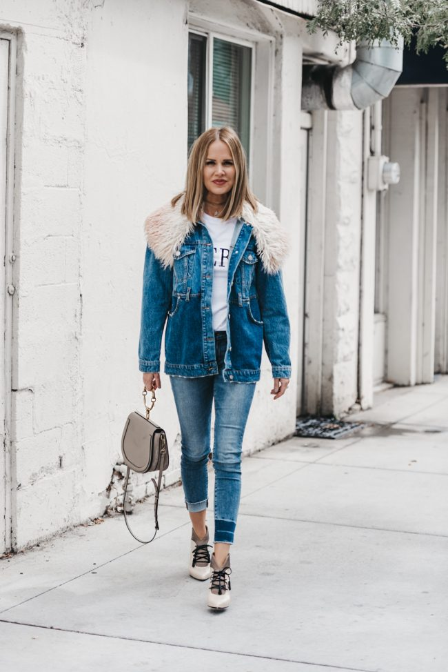 faux fur collar reconstructed denim jacket under $150