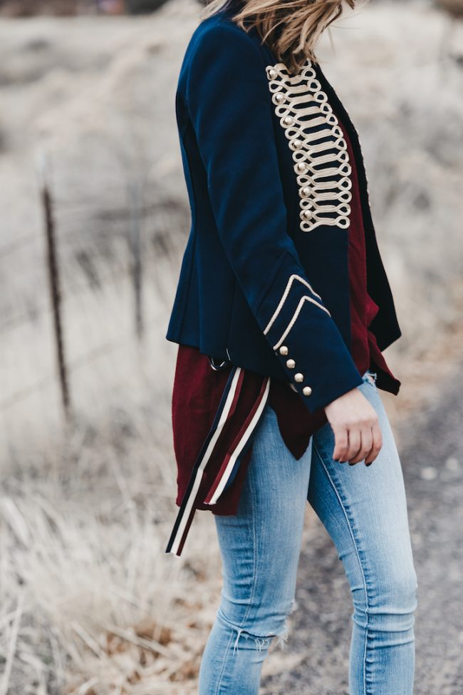 Up your casual look with a marching band jacket