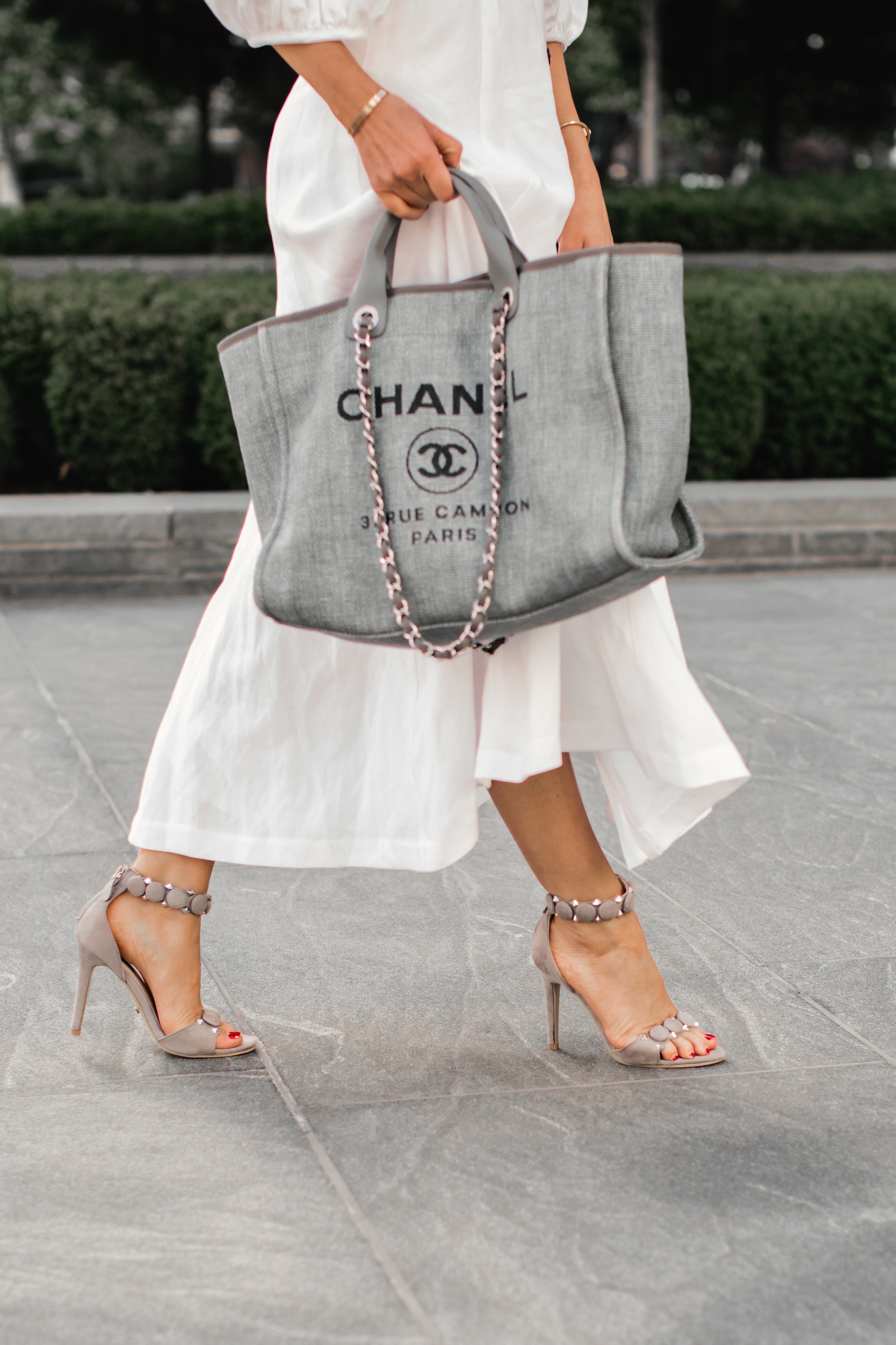 9ed22a0623dd chanel deauville-large-gray-tote-alaia-sandals • The Fashion Fuse